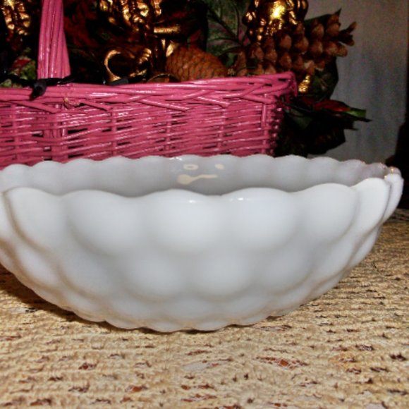 "Vintage 8"" Milk Glass Bowl Large Hobnail Pattern"